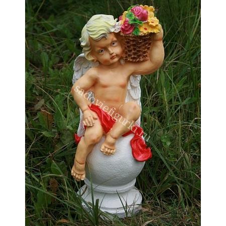 Ангел на шаре с корзиной Цветной