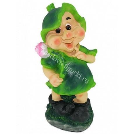 Гном Девочка с цветком