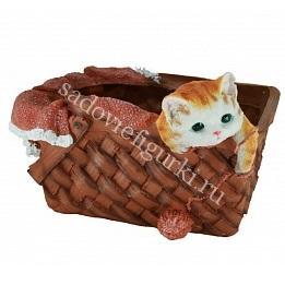 Кашпо котёнок в корзинке