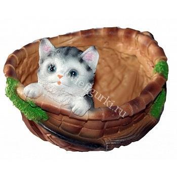 Кашпо котёнок в круглой корзинке