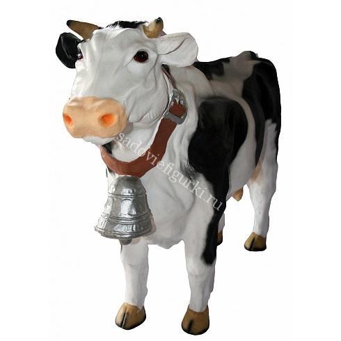 Корова с колокольчиком черные пятна
